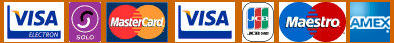 We accept Electron, Solo, MasterCard, Visa, JCB, Maestro and American Express